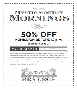 Discount coupons for mystic ct