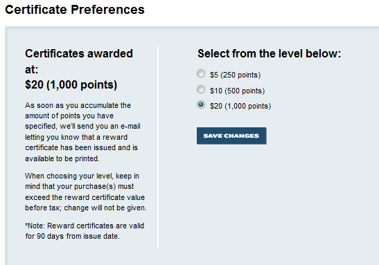 Best Best Reward Zone Certificate Preferences