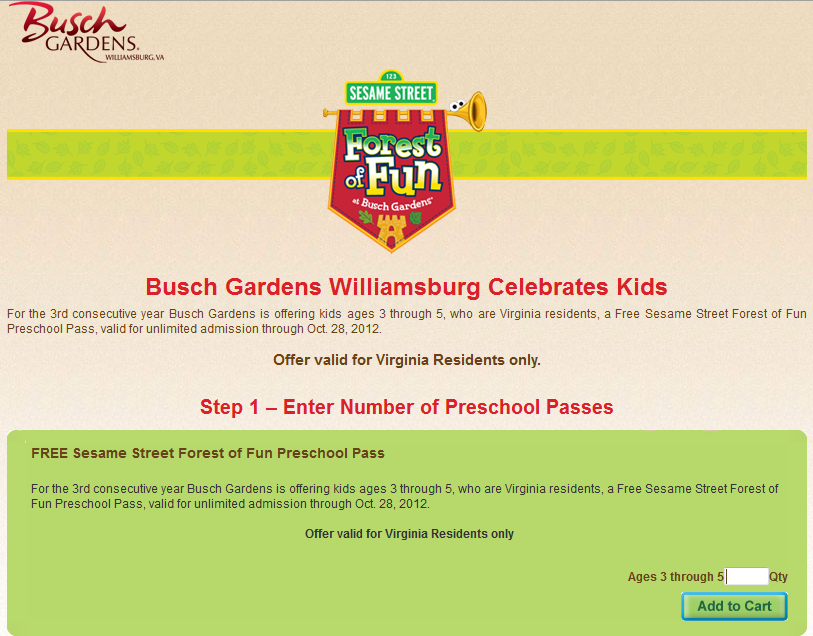 Pampers gifts to grow free kids admission to busch gardens Busch gardens williamsburg discount tickets