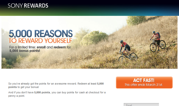 5,000 Sony Reward Points for Redeeming in March - InACents com