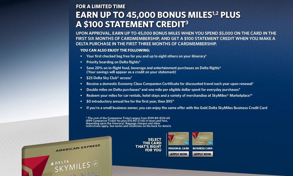 Expired] 45,000 Delta Skymiles + $100 Statement Credit American ...