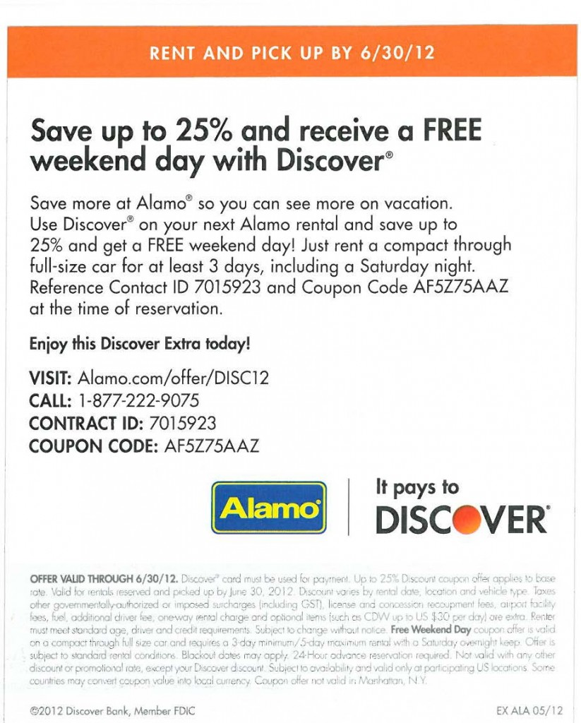 Alamo car rental discount coupons