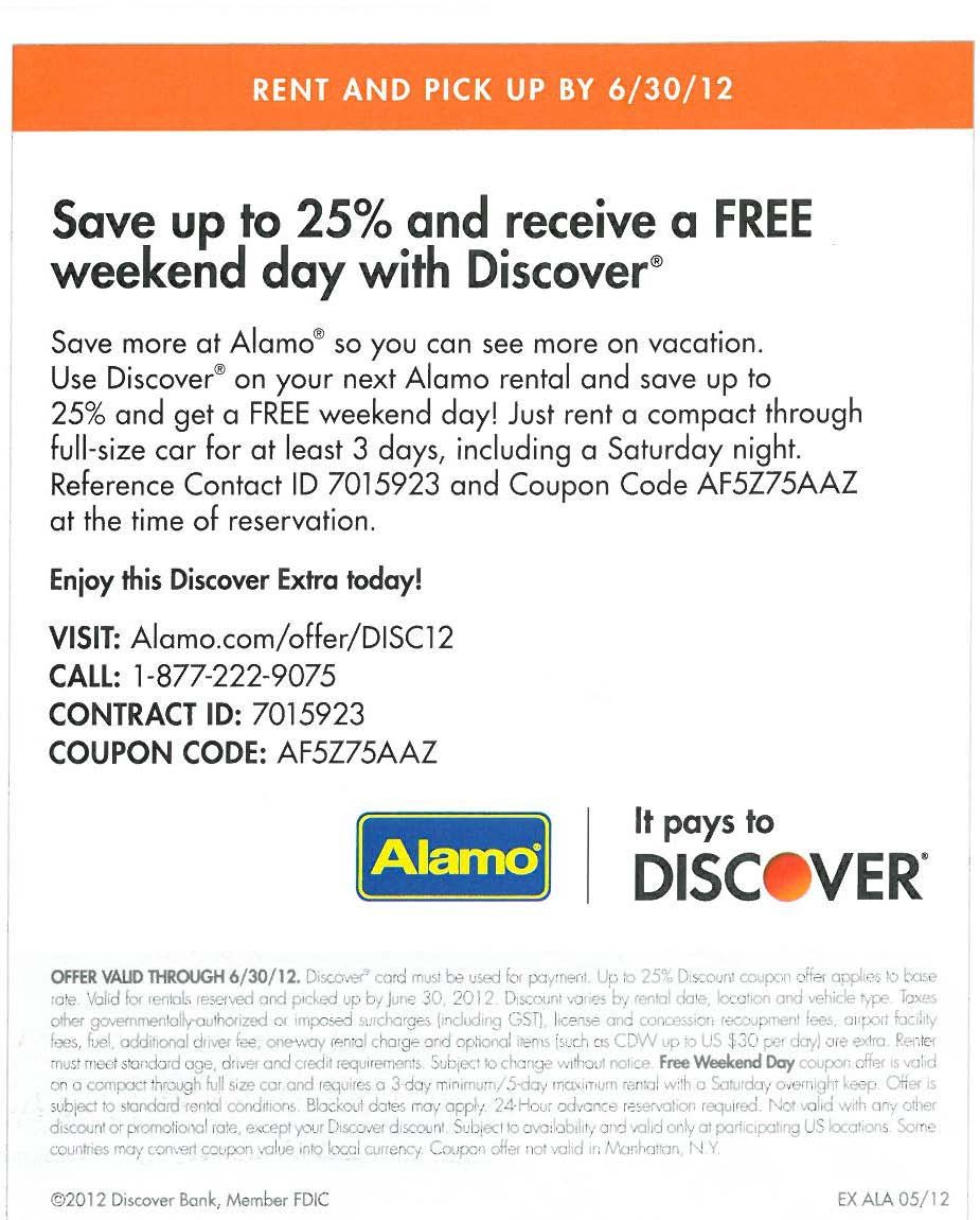 Alamo Coupon Code Promo Codes July 2018