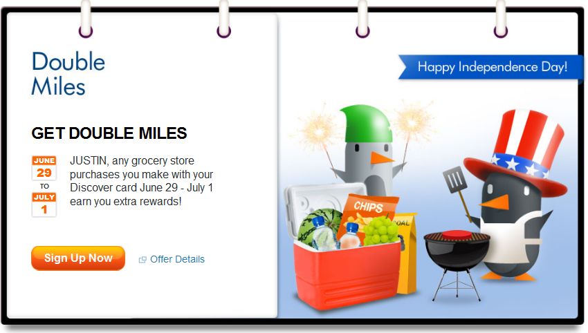 July 2012 Discover Card Double Miles