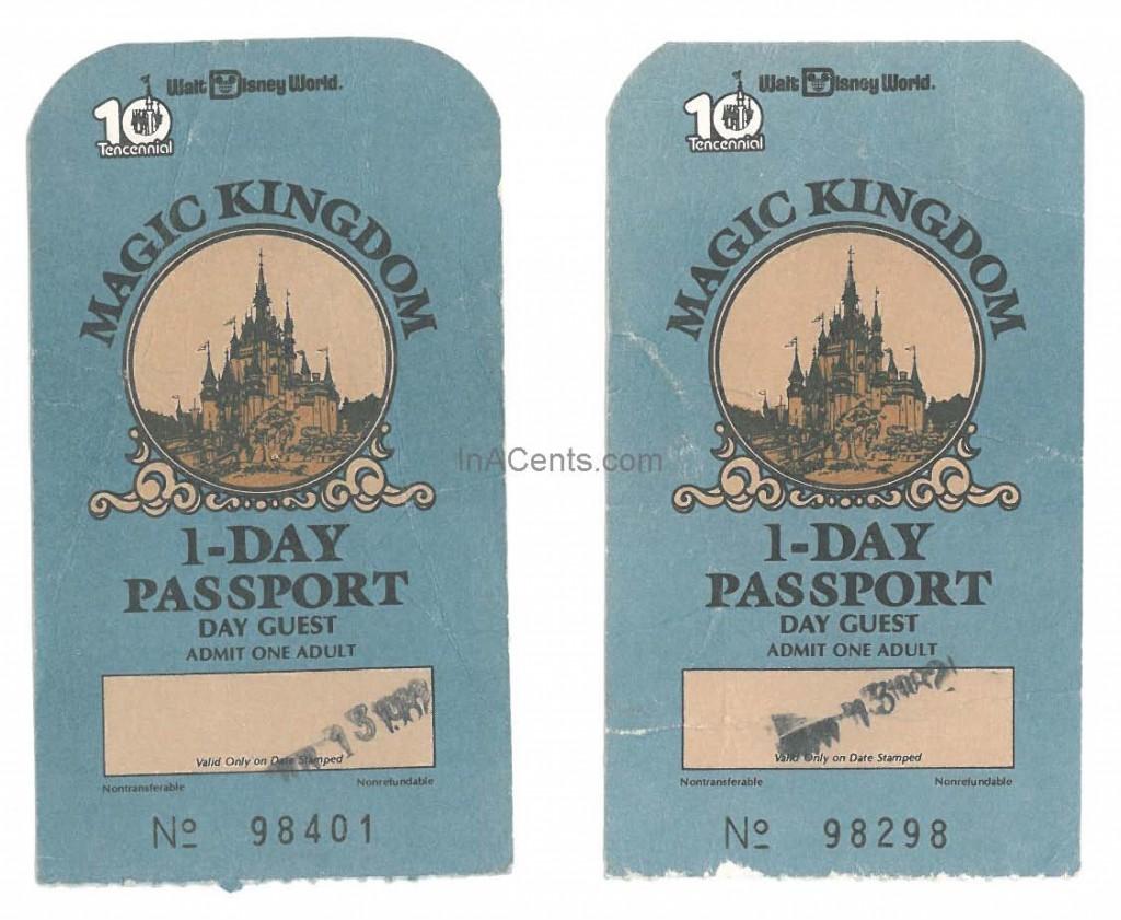 1982 Walt Disney World Tickets Front