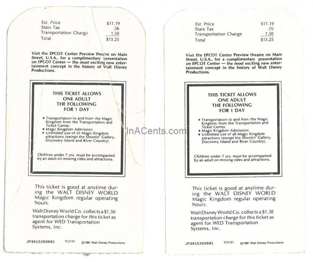 1982 Walt Disney World Tickets Rear