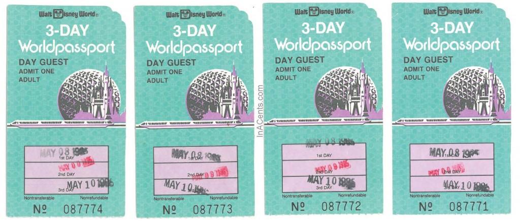 1985 Walt Disney World 3-Day Tickets Front