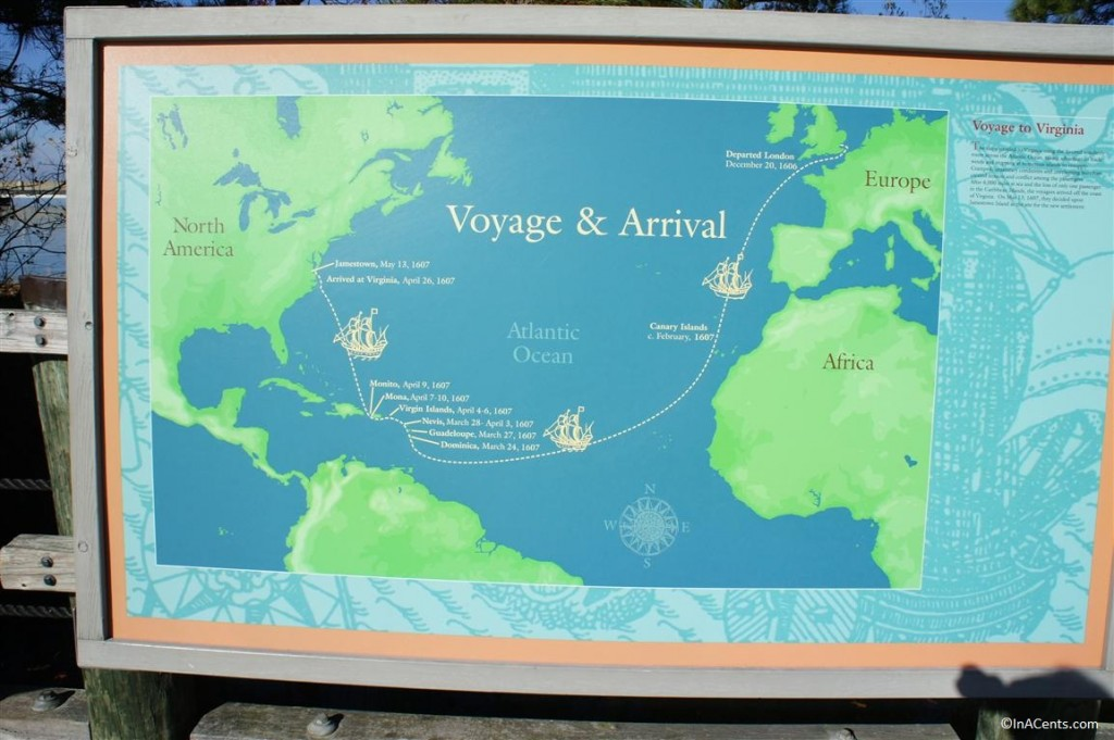 121123 Jamestown Settlement Voyage Map
