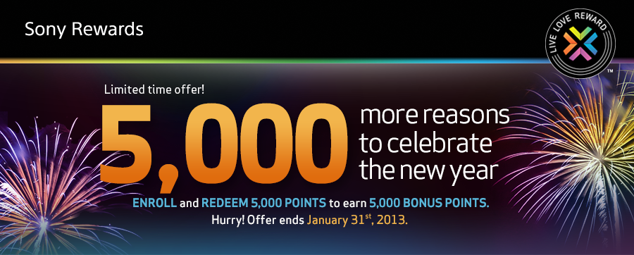 2,500-5,000 Sony Reward Point Discount in January 2013