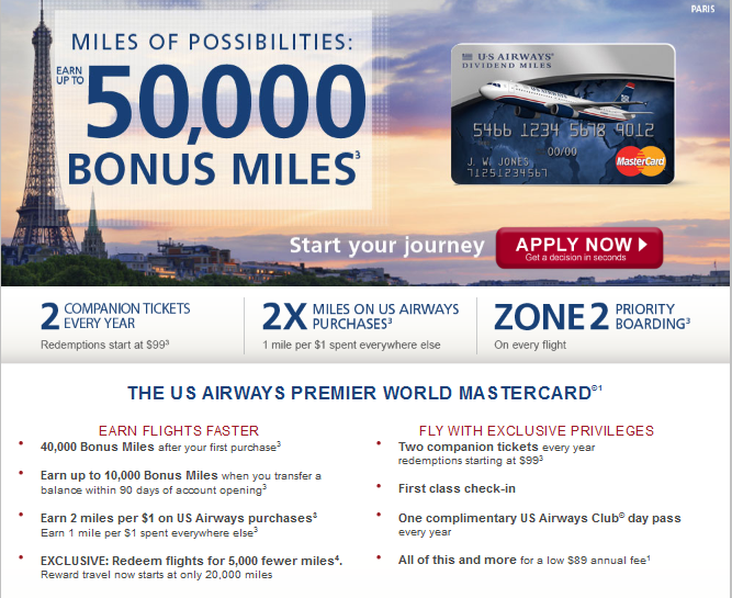 US Airways 50000 Mile Offer