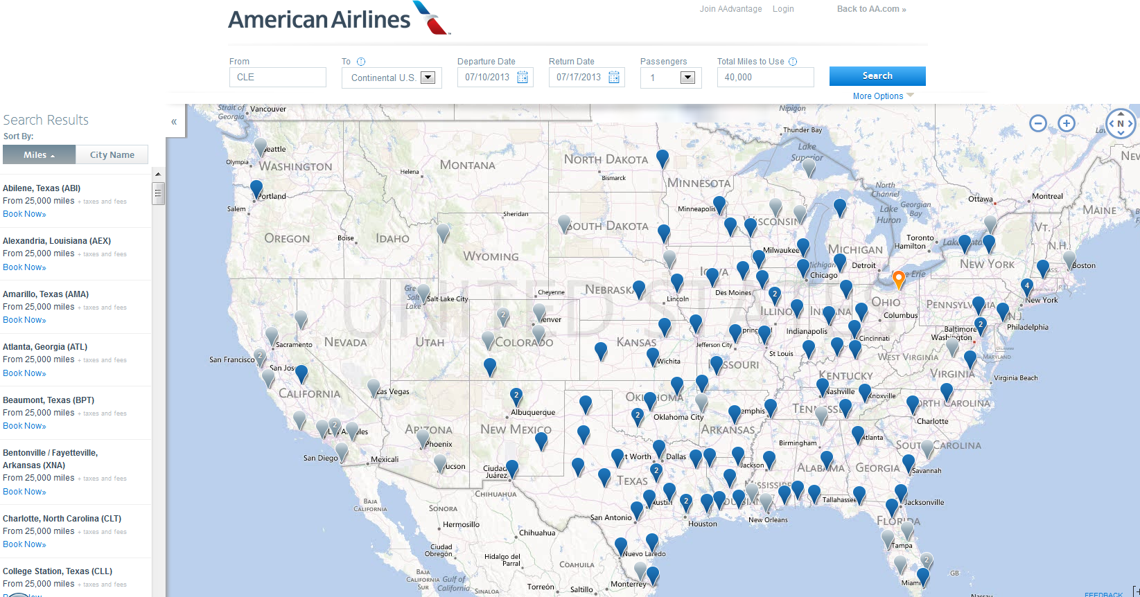 American Airlines Adds New Award Map InACentscom - Us airways travel map