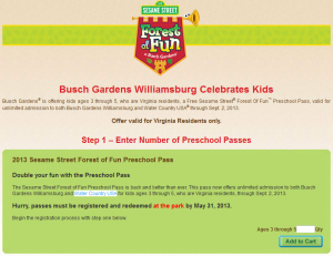 Busch Gardens Williamsburg Preschool Passes