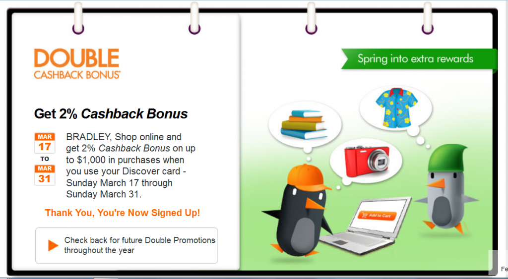 Discover Double Cashback March 2013