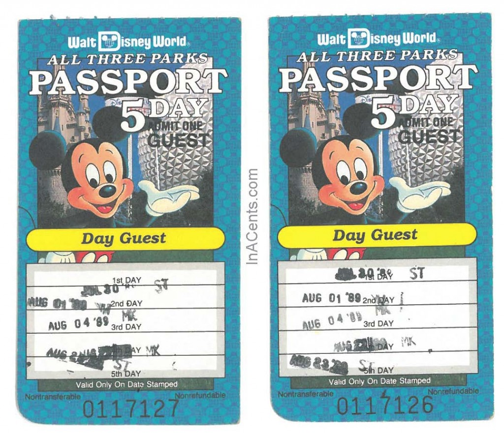 1989 Walt Disney World 5-Day Passport Ticket Front