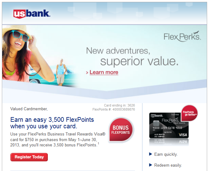 May 2013 US Bank 3,500 FlexPoints Bonus