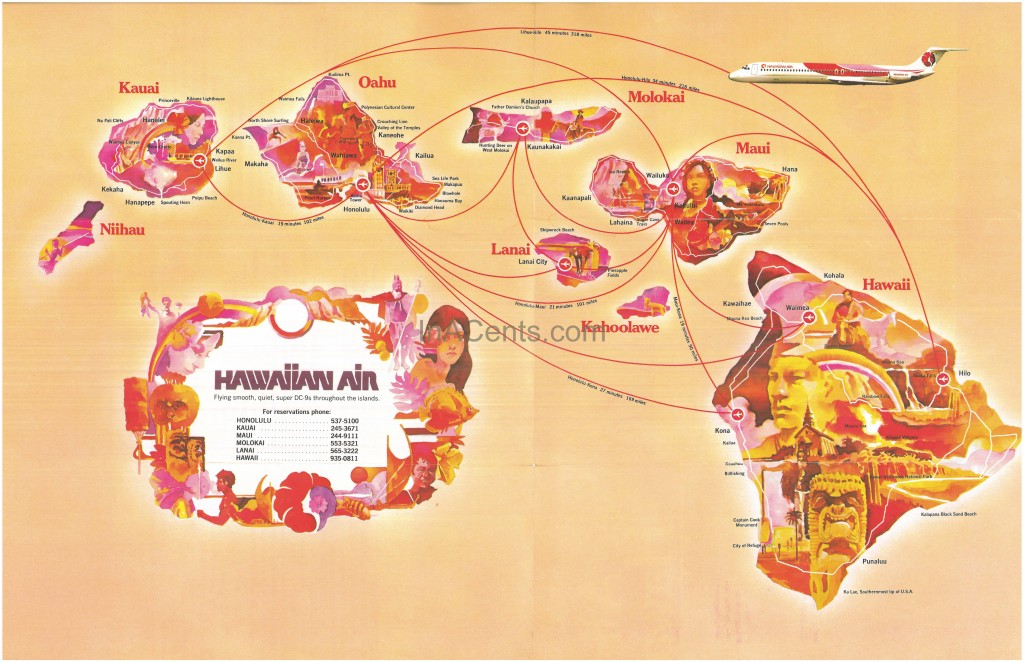 1977 Hawaiian Air Map-Guide Inside
