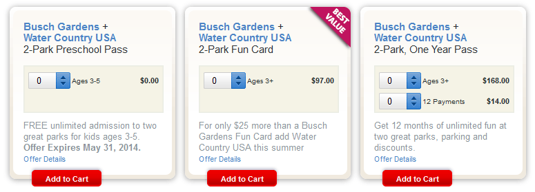 Marvelous Additional 2014 Busch Gardens Preschool Pass Ticket Options