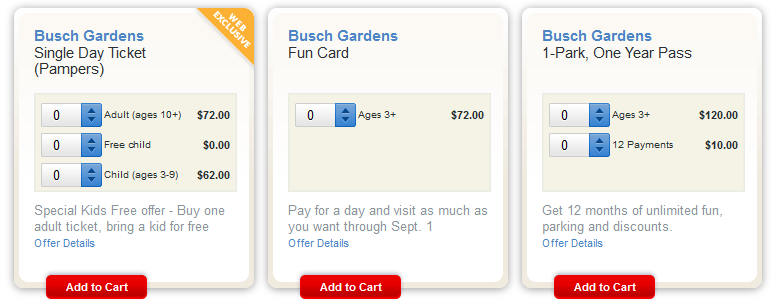 2014 Pampers Busch Gardens Williamsburg Kids Free Day Ticket