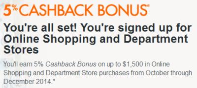 Oct-Nov 2014 Discover 5 percent cashback bonus